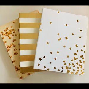 Kate Spade Lot of 3 Spiral Notebooks Gold Cream